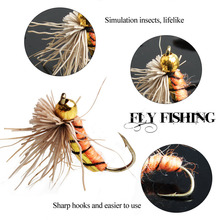 Sougayilang 40pcs/lot Trout Nymph Fly Fishing Lure Fishing Tackle 3 Colors Fly Fishing Flies with Box Carp Artificial Fish Bait
