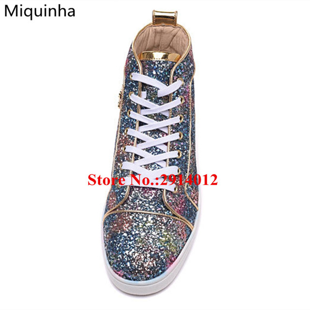 Colorful Bling Glitter Embellished High Top Chaussure Homme Flat Lace Up  Luxury Brand Men Trainers Zapatillas ff042a5cca49