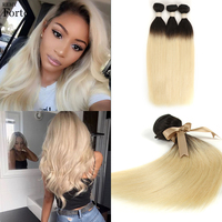 Remy Forte Brazilian Hair Weave Bundles T1B/613 Ombre Color Blonde Human Hair Bundles Mink Silky Straight Human Hair Extension