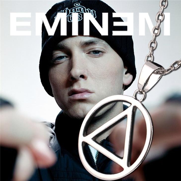 Eminem Necklace Slim Shady Hip Hop Rapper Rock Popular Logo Symbol Silver Pendant Fashion Music Jewelry Men Women Fans Wholesale