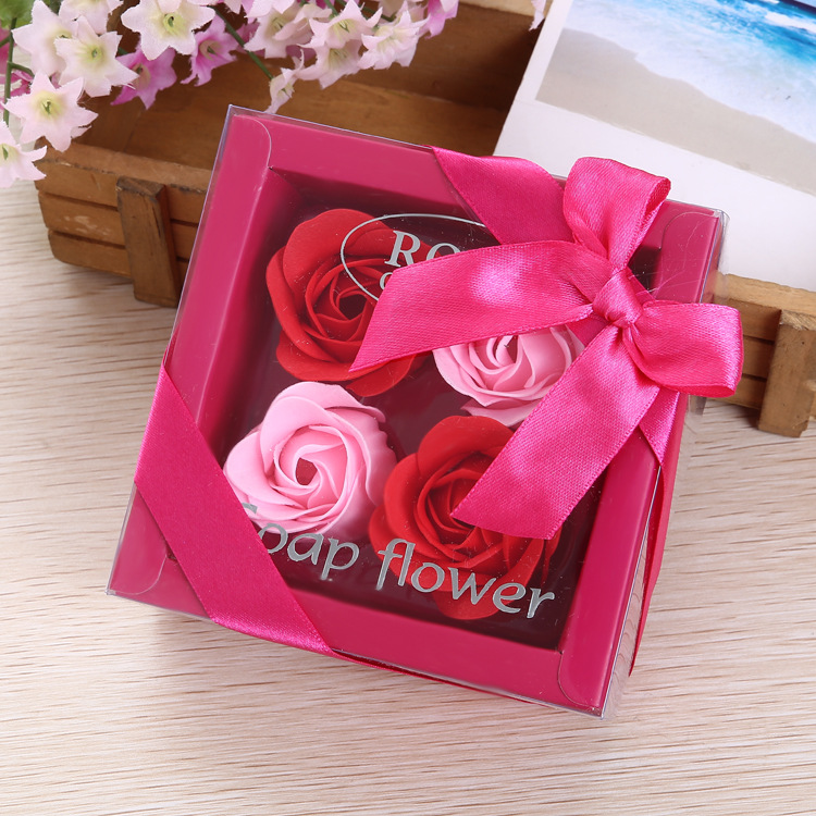 Soap-Flowers-Set Roses Wedding-Bloom Friend Lovers Present 4pcs Valentine's-Day-Gifts