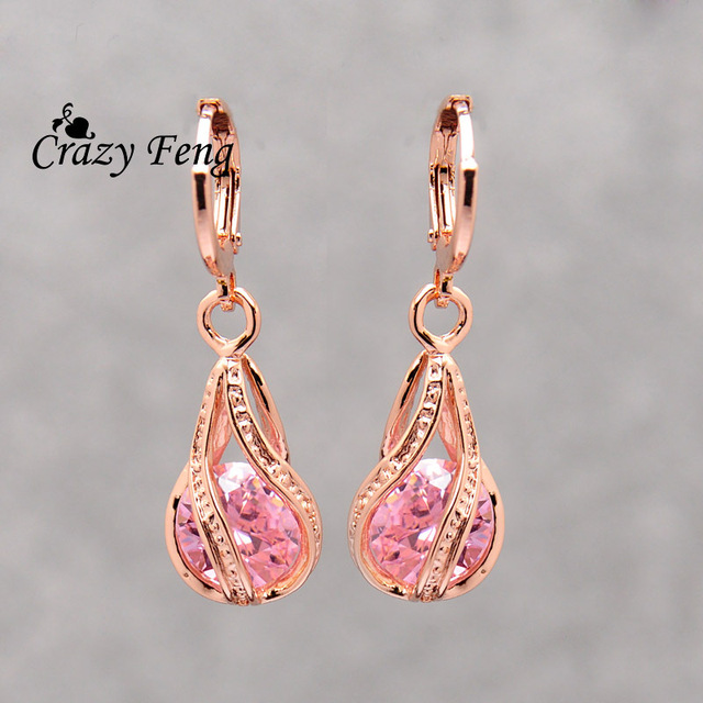 Elegant Pink CZ Crystal Earrings Rose Gold Color Hollow Out Drop Earrings for Women Wedding Party Costume Jewelry brincos Gift 1