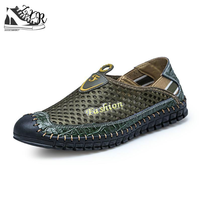 Männer Slat Schuhe Neue Aushöhlen Atmungs Rindsleder Sommer Echtem - Herrenschuhe