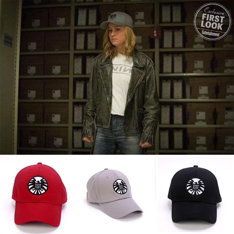 Movie Captain Marvel Cosplay Cap Ms. Marvel Carol Danvers Adjustable Hat S.H.I.E.L.D. Shield Baseball Caps
