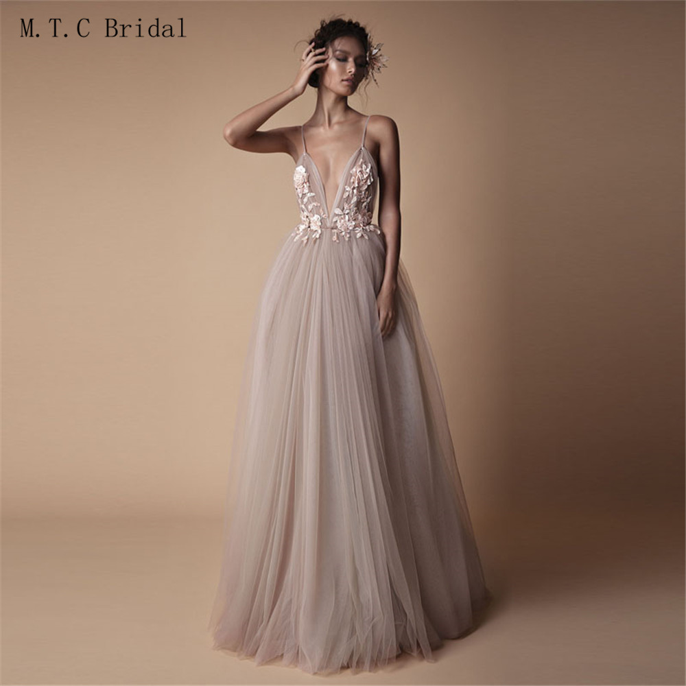 f7268bfe901 Detail Feedback Questions about Amazing 2019 Blush Tulle Backless Prom  Dresses Sexy Spaghetti Strap A Line Appliques Flowers Russia Women Evening  Party ...