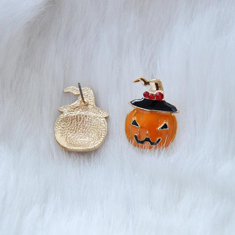 Fashion Women Pumpkin Crystal Rhinestone Ear Stud Earrings Halloween Jewelry neu