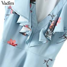 Vadim women V neck ruffles sweet floral shirts sleeveless sashes design blouse lady fashion streetwear tops blusas mujer WT514