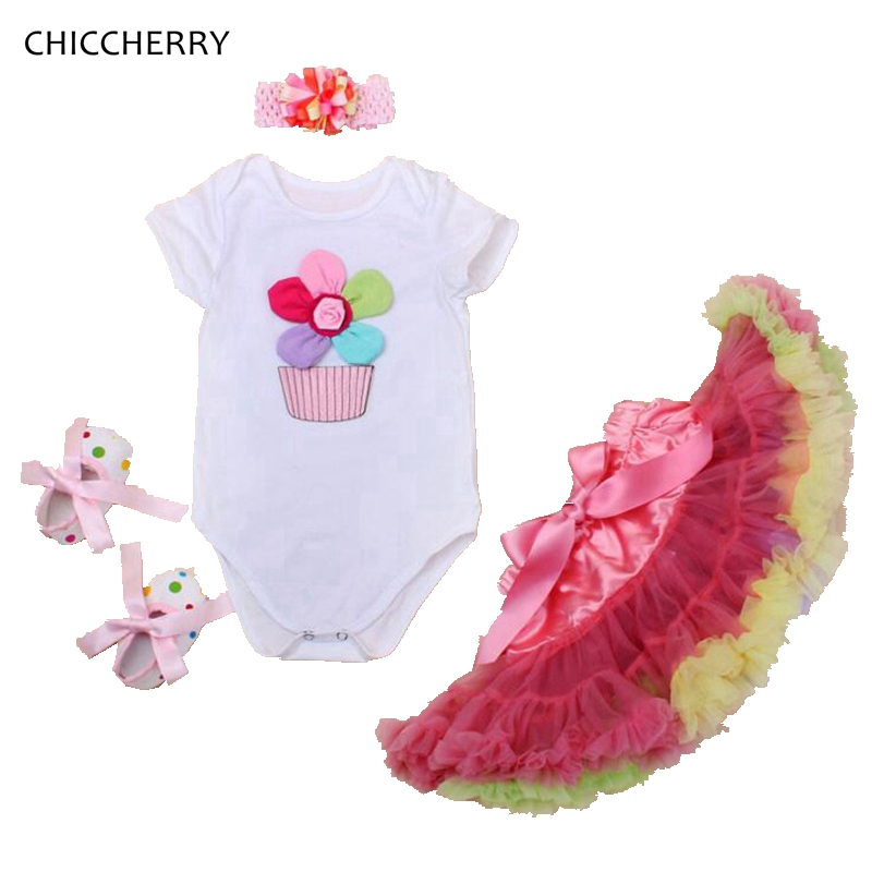 Colorful Floral Newborn Baby Tutu Skirt Headband Set Infant Girl Bodysuits New Year Costume Toddler Jumpsuit Ropa Kids Clothing newborn baby photography props infant knit crochet costume peacock photo prop costume headband hat clothes set baby shower gift