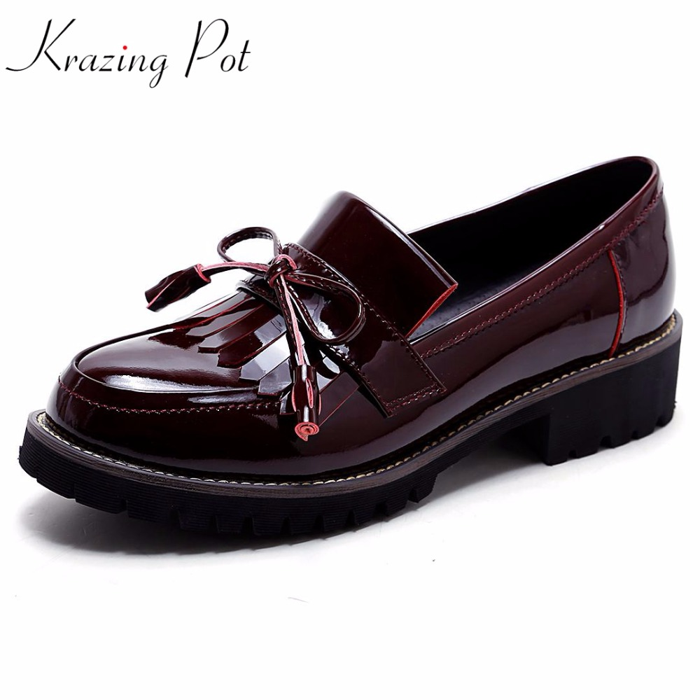 KRAZING 2018 POT full grain leather streetwear med heels tassel slip on gladiator women pumps round toe British school shoes L03 2018 superstar genuine leather streetwear med heels tassel slip on women pumps round toe retro sweet handmade casual shoes l03