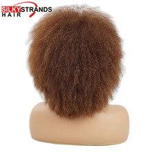 Afro macio kinky encaracolado perucas para as mulheres fios de seda yaki peruca cosplay africano curto de alta temperatura fibra peruca sintética cosplay
