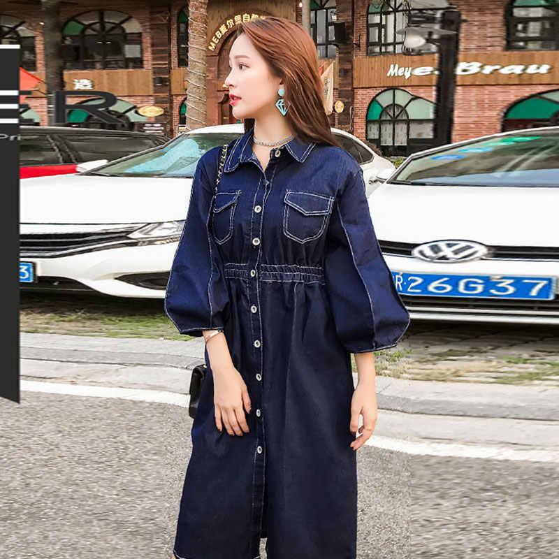 Длина рукав 44-45 платье из джинсовой ткани Для женщин 2019 Весна Модный фонарь рукав длинное платье Тонкий Высокая Талия Тип в джинсовые платья TY073