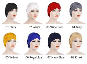 Image 2 - Kadın yumuşak uyku gece kap müslüman düz kızılderili şapkası Baggy kemo şapka türban bere Bonnet şapkalar Skullies geniş bant islam kap