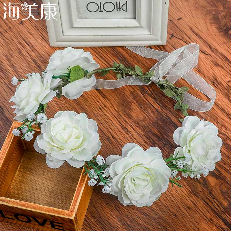 Haimeikang Fashion Flower Headband Women For Wedding  Head Band Hairband Wedding Party Festival Decor Princess Floral Wreath