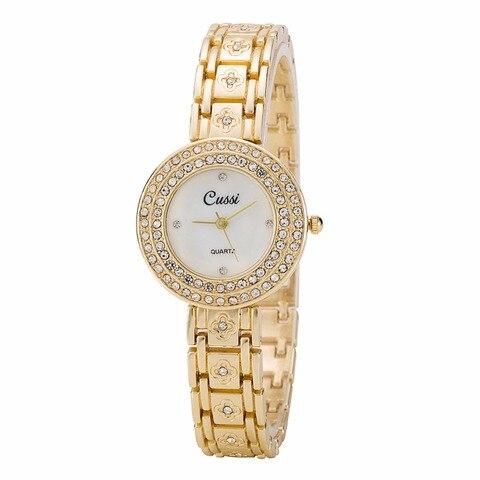 Flor de Strass Relógios de Quartzo Relógios de Pulso Cussi Women Bracelet Relógios Luxo Senhoras Vestido Relógio Feminino Presente A186