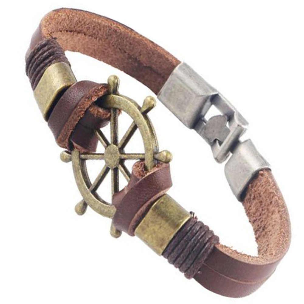 AMOURJOUX Handmade 4 style srebrny/złoty charm kotwica brązowy czarna skórzana bransoletka Bangle mężczyźni kobiety Charms bransoletki bransoletki