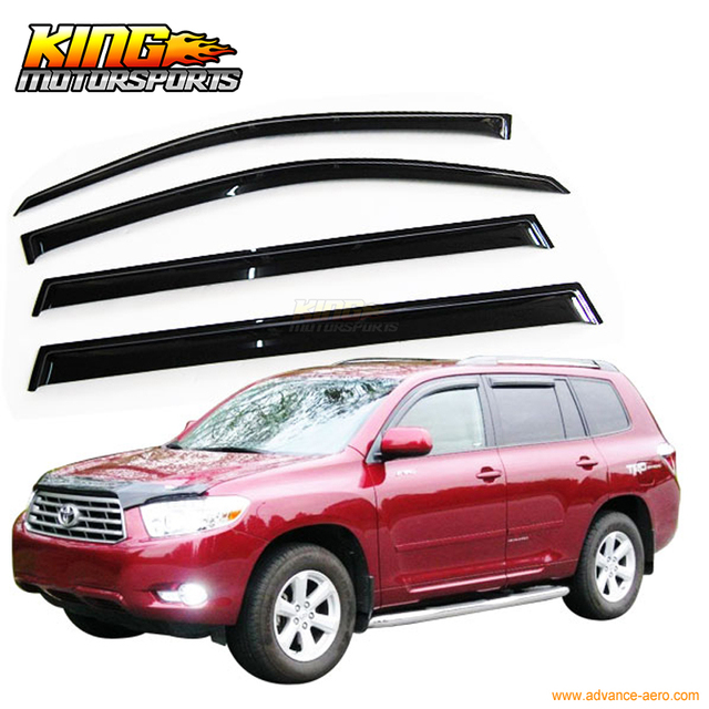 For 2008-2012 Toyota Highlander Smoke Slim Sun Window Visor Rain Guard 4Pcs a21a74a5cad