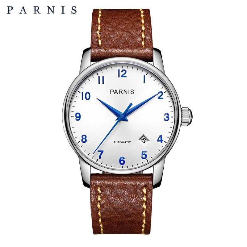 38 мм Parnis повседневное часы для мужчин стиль Деловые часы пояса из натуральной кожи сапфир серебро розовое золото для мужчин автоматические.
