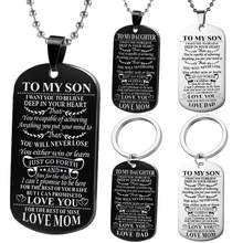 bce043ce391 Dog Tags Pendant Necklace Family Jewelry To My Son Daughter We Love You  Love Dad Mom Necklace Military Army Cards