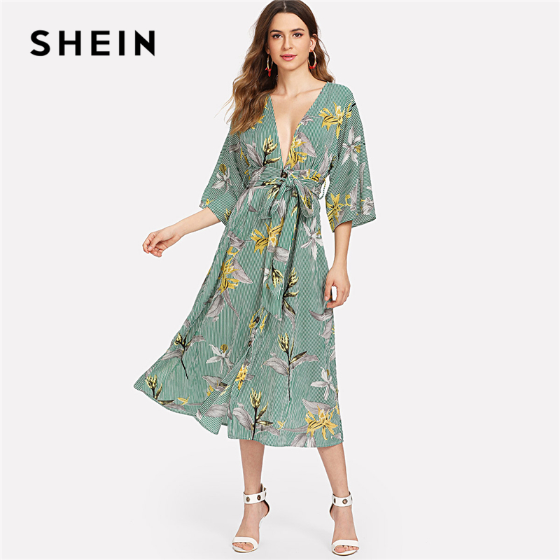 SHEIN Multicolor Vacation Boho Bohemian Beach Floral Print Striped V Neck Flounce Sleeve Summer Self Belted Long Dress For Women