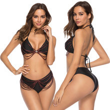 New Sexy Crown Insert Bikini Women Swimsuit Strappy Bandage Bathing Suit S-XL Girl Solid Black Swimwear 2Pcs Backless Bikini Set недорго, оригинальная цена