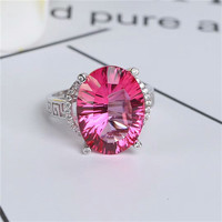 wholesale MEDBOO brand zircon 925 sterling silver natural gemstone pink topaz crystal ring pendant necklace jewelry set