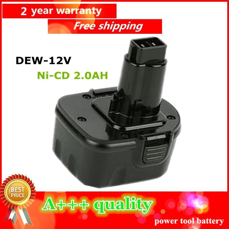 Ni CD 2 0Ah Replacement Power Tool Battery For Dewalt 12V 2000mah DE9074 DC9071 DE9037 DE9071