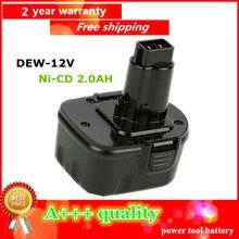 Ni-CD 2.0Ah Замена Мощный Инструмент Батареи Для Dewalt 12 В 2000 мАч DE9074 DC9071 DE9037 DE9071 DE9074 DE9075 DW9071 DW9072 DW9074