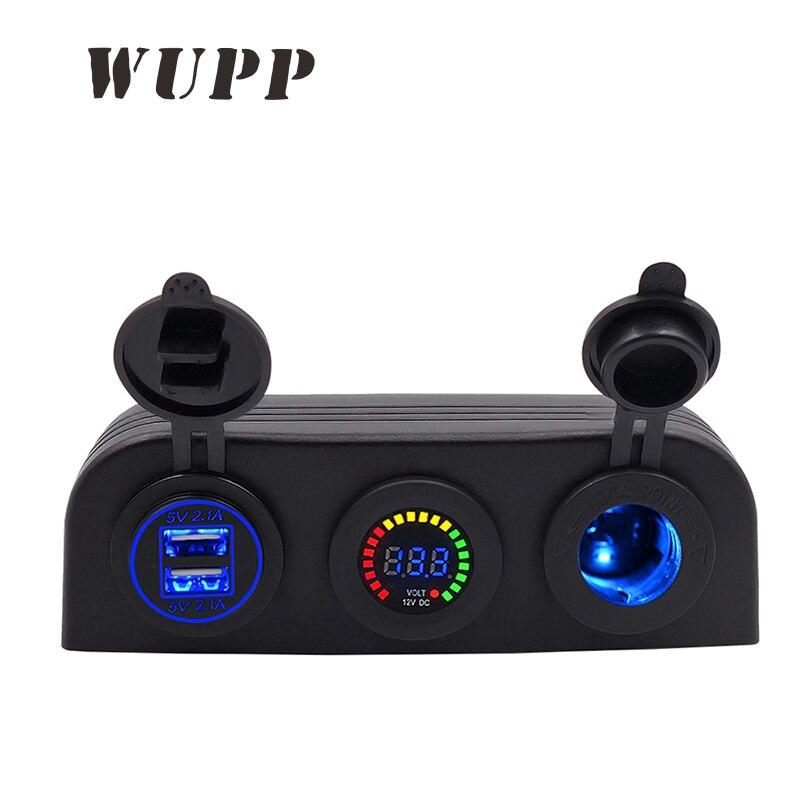 WUPP Auto 5 v 4.2A Double Usb Voiture Bateau Chargeur 12 v Couleur Voltmètre Cigarette Allume Trois Trous Tente panneau Bleu Rouge Vert