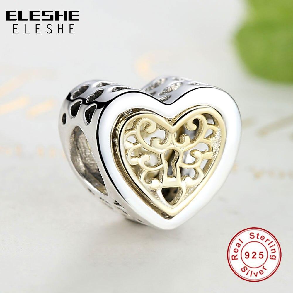 ELESHE Lüks marka 100% 925 Sterling Gümüş Ürək Yaraşıqlı - Moda zərgərlik - Fotoqrafiya 5