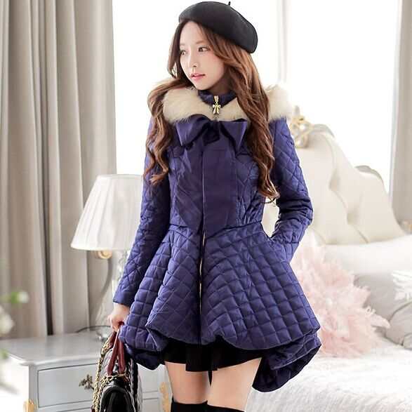 DABUWAWA Original 2016 Brand Winter Navy Blue Fur Bow Plus Size Slim Long Irregular Hooded Skirt Down Jacket Coat Parka Women hot autumn womens slim wool warm coat parka navy blue size s xl light tan red navy