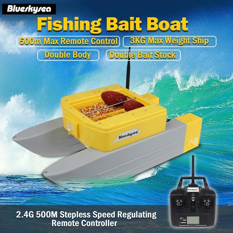Date Blueskysea T168 rc bait bateau 500 M À Distance bateau de pêche Leurre appât 3 kg rc bateau double Appât Stock pour la Pêche
