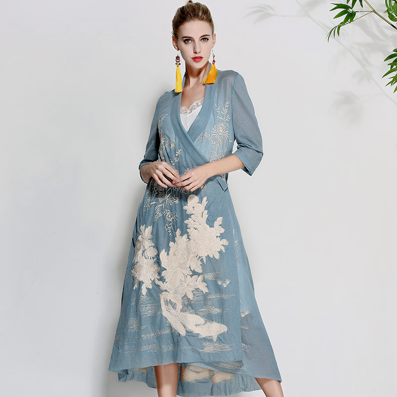 Women beautiful dresses summer vintage royal embroidery floral elegant lady loose red/black/blue cotton party dress M-XXL