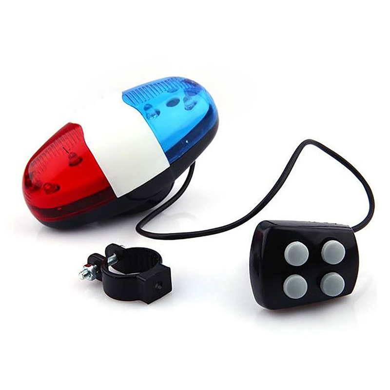 6 LED 4 Tone Sounds Bike Bicycle Horn Bell Police Car Light Trumpet