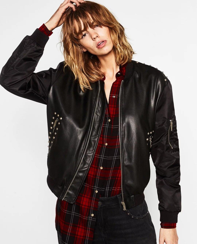 Leather jacket sale womens - New Hot Sale Fashion Pu Jackets Women Winter Leather Jackets Embroidery Rivet Cool Warm Winter Coats