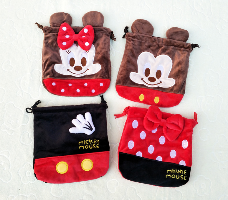 IVYYE 1PCS Mickey Batman Cartoon Drawstring Bags Cute Plush Storage Handbags Makeup Bag Coin Bundle Pocket Purses NEW