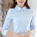 Elegant Women Clothes Peter Pan Collar Solid Color Spring 2017 Shirts Slim Female Fashion Blouse Long Sleeve