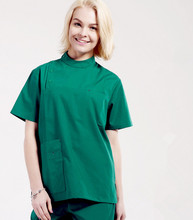 2018 Unisex dental clinic & hospital medical scrub set doctors round stand collar button open short sleeve surgical uniform
