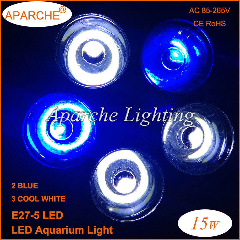 2015 New E27 15W LED Aquarium Lamp Lighting Cree Coral Reef Grow Light Fixture High Power Fish Tank Dsuny Bulbs - RGA Official Store store