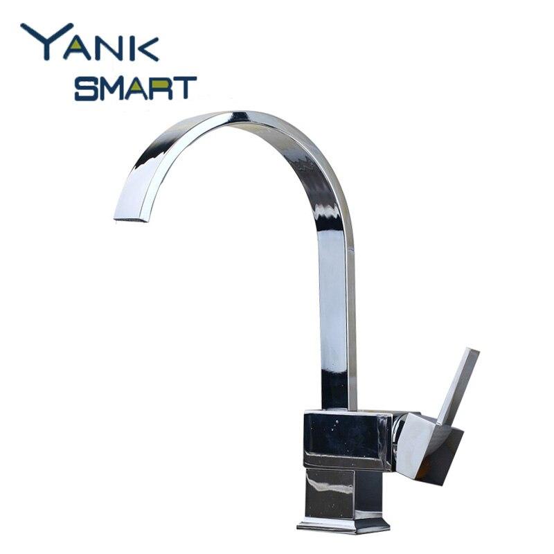 DE Contemporary 360 Swivel Kitchen Sink Faucet Stream Spout Polish Chrome Brass Finish Deck Mounted Tap