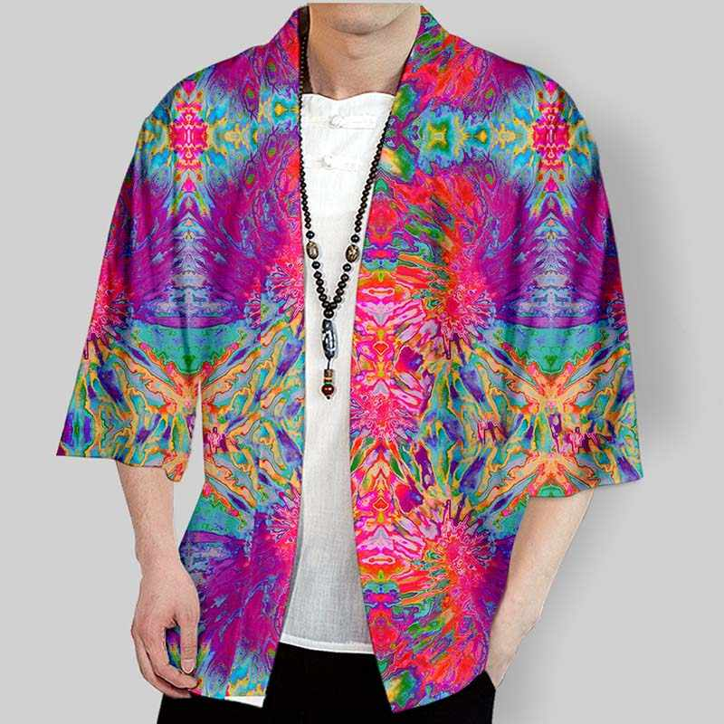 2019 Tie dyeing Short sleeve kimono men/women Light tide element Cardigan t shirt tops Couple Chinese style clothes
