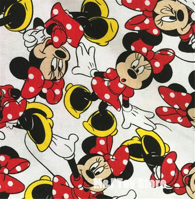 100160cm Cartoon Lovely Mickey Minnie Mouse Knitting Cotton Fabric