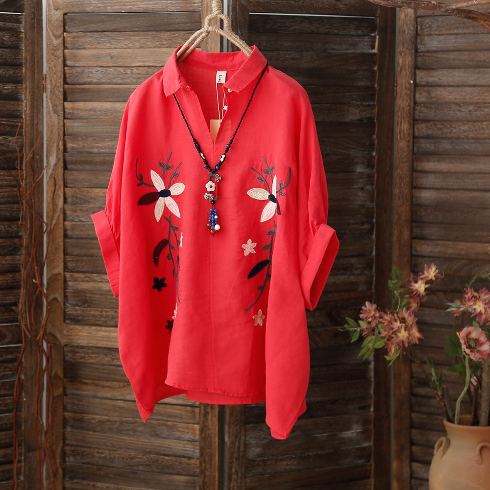 Retro embroidery blouse cotton linen red shirt China wind Lapel big size tops short sleeved summer Chemise ramie ladies clothes