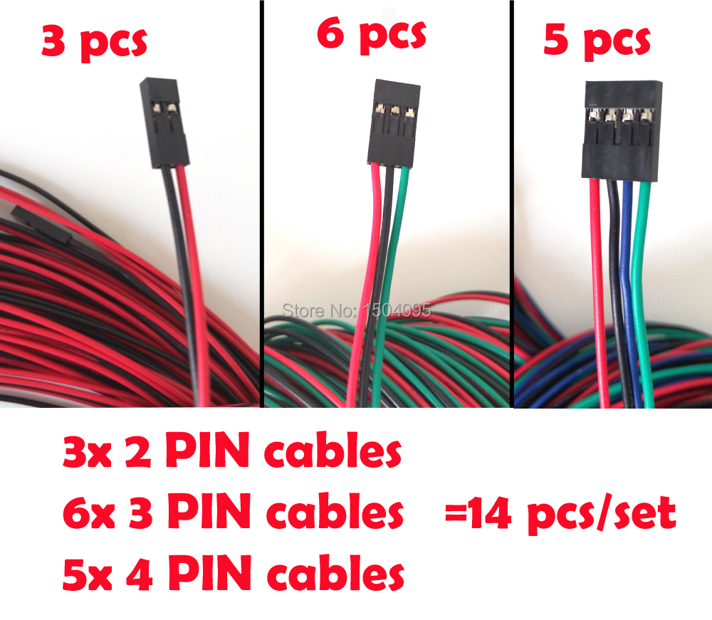 3D Printer Kit 14pcs/lot Cables Complete Wiring Cables Set For RAMPS 1.4 Endstops Thermistors Motor Dupont Cable