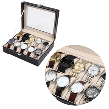 Watch Display Case Jewelry Collection Storage Organizer PU Box  Grid Wristwatch box black crocodile pu leather 6 grid watch case with clear window best price watch collection box gc02 pu 06f b9 page 1