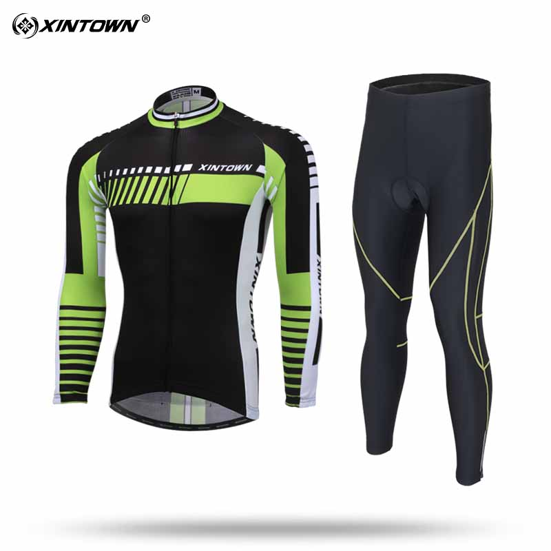 XINTOWN Mens Cycling Jersey Polyester Long Sleeve Bike Jersey Set for Spring and Autumn MTB Sport xintown men s cycling long jersey top padded pants set black purple multi color m