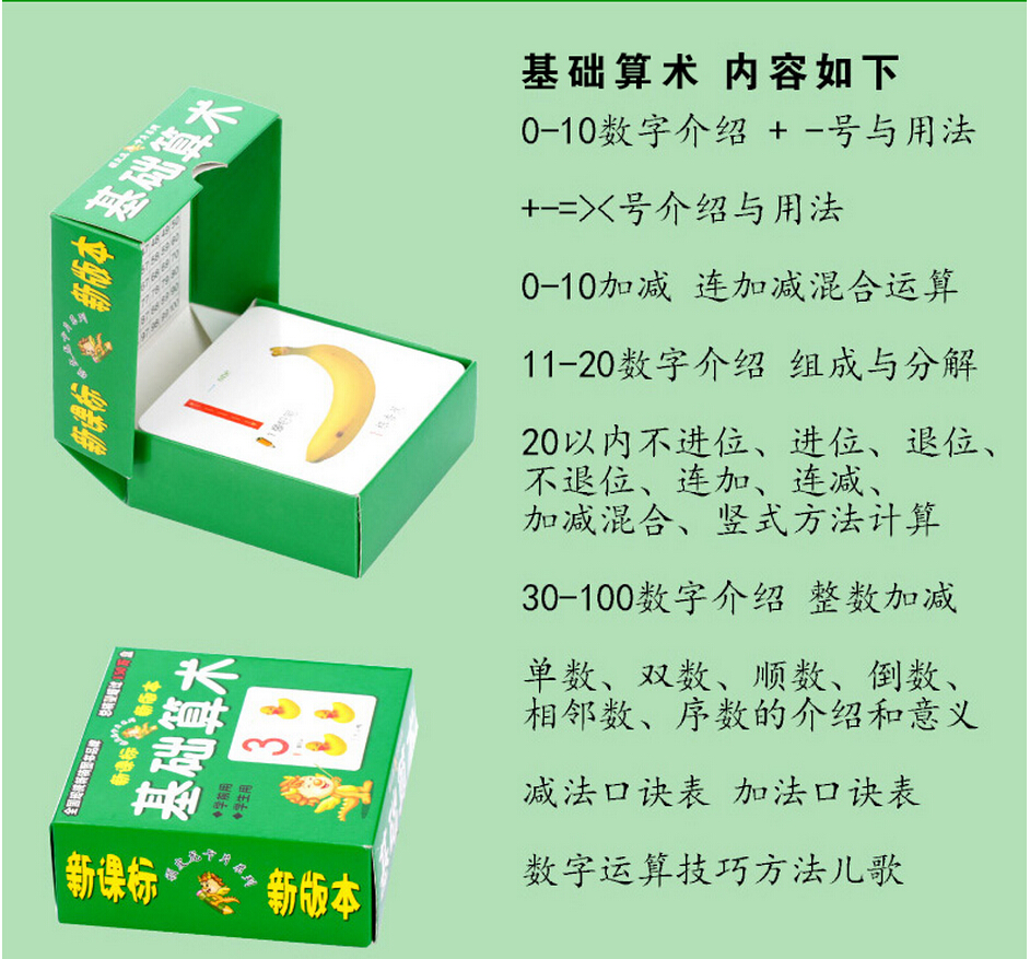 Chinese basic math cards with picture for little kids ,Arithmetic ...