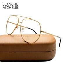 ステンレス鋼青色光メガネ女性男性 UV400 眼鏡フレームクリアメガネフレーム光学式ゴールド眼鏡メガネとボックス Glasses Women glasses Men glasses frame
