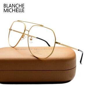 Image 1 - ステンレス鋼青色光メガネ女性男性 UV400 眼鏡フレームクリアメガネフレーム光学式ゴールド眼鏡メガネとボックス Glasses Women glasses Men glasses frame
