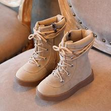 Children Genuine leather boots high top boys girls Martin boots kids fashion boots non slip autumn winter warm boots for Child