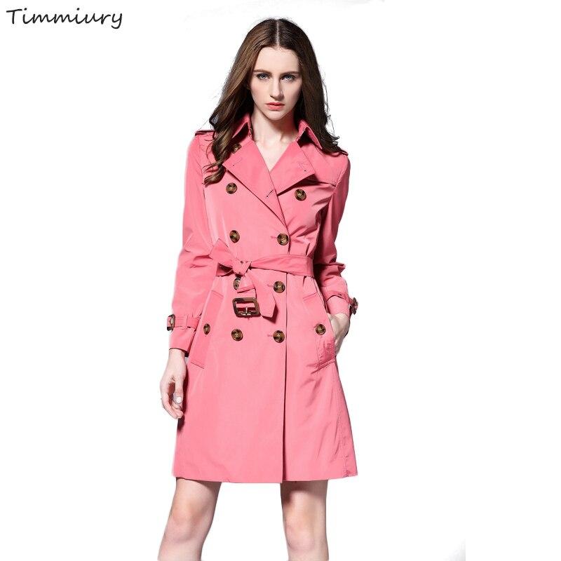 Timmiury Women New Pink Long Tench Coat Waterproof Tops Casaco Feminino Bayan Mont Double Breasted Manteau